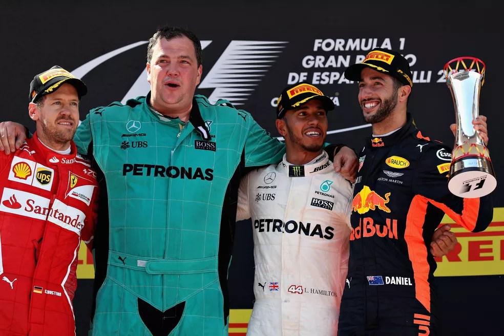 Pódio GP da Espanha de 2017 (Foto: Getty Images)