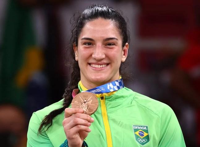 Mayra Aguiar, medalha de bronze na categoria até 78kg no judô, deve substituir Maria Suelen na competição por equipes — Foto: REUTERS/Sergio Perez