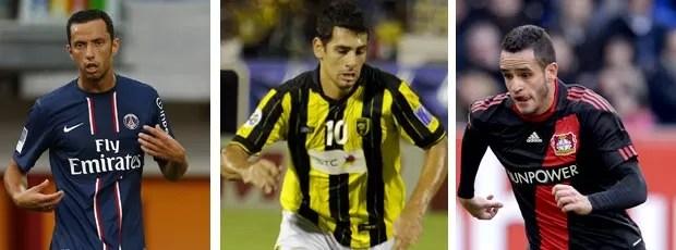 MONTAGEM - Nenê psg Diego Souza Al-ittihad e Renato Augusto Bayer Leverkusen (Foto: Agência Getty Images)