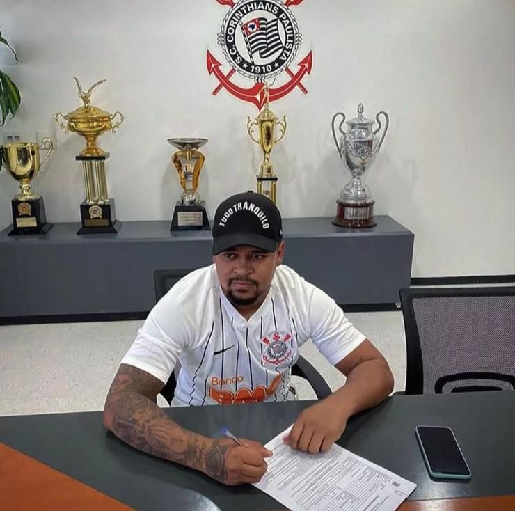Diogo Vitor assinou no sub-23 do Corinthians, mas não jogou — Foto: Reprodução