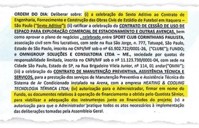 Ata de assembleia da Arena Corinthians (Foto: Reprodução)