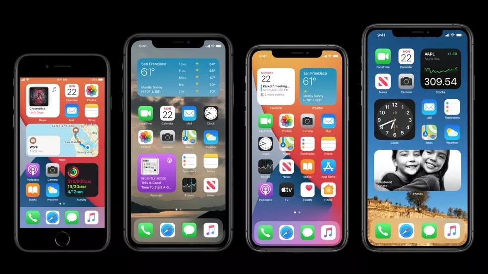 Widgets do iPhone podem ser adicionados à tela inicial com o iOS 14 — Foto: Reprodução/Apple