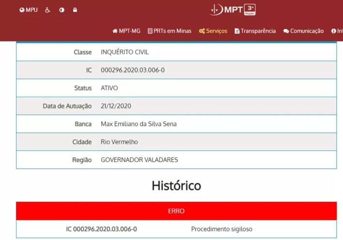 Consulta no portal do Ministério Público do Trabalho de Minas Gerais mostra que processo é sigiloso — Foto: Reprodução