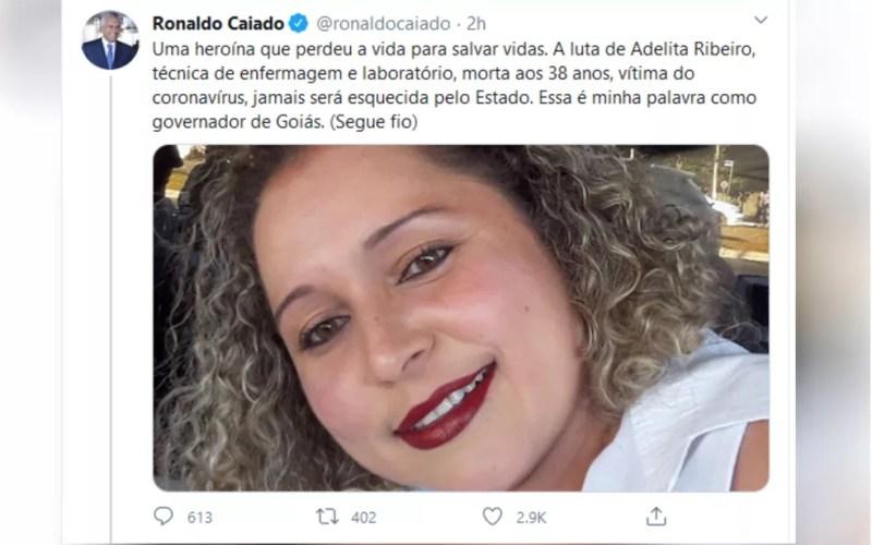 Governador Ronaldo Caiado homenageia Adelita Ribeiro, que morreu por coronavírus — Foto: Reprodução/Twitter
