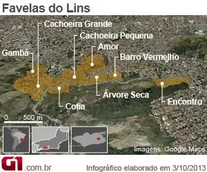 Complexo do Lins — Morro da Colômbia. (CV) Mapa-upp-lins