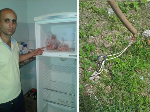 Esq.: Conselhiro mostra o unico alimento na geladeira do abrigo. Dir: Fiação exposta põe em risco a segurança de quem passa pelo local. (Foto: Carolina Sanches/G1)