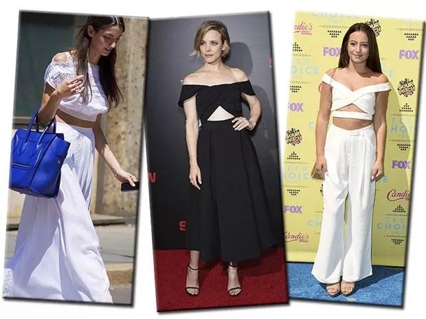O decote ombro a ombro dá um apelo fashion aos tops cropped (Foto: Reprodução / Instagram, Style du Monde, Getty Images)