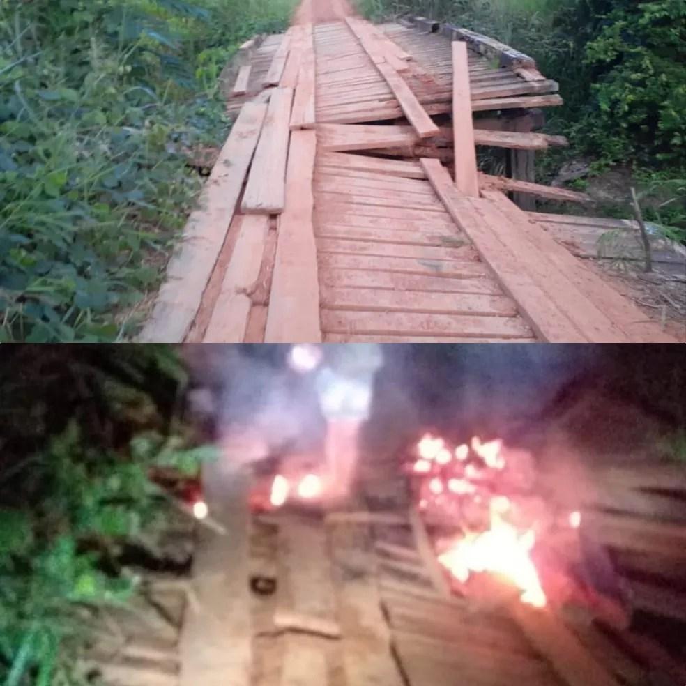 Ponte estava quebrada há pelo menos dois meses — Foto: André Oliveira/Arquivo pessoal