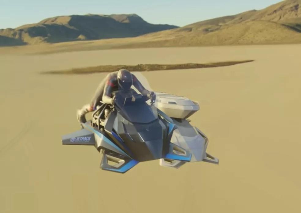 Moto voadora da Jetpack pode chegar a 240 km/h — Foto: Reprodução/Youtube