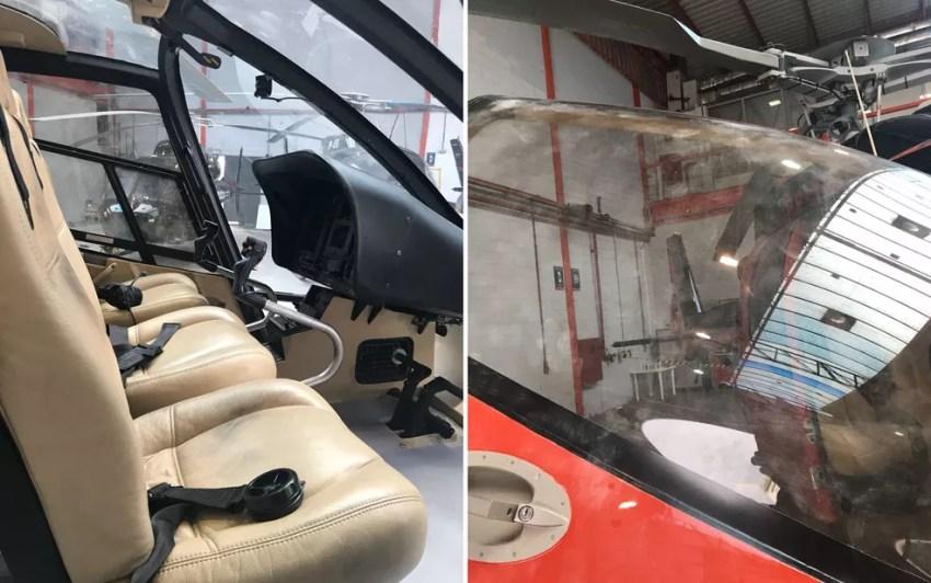 Detalhes do helicóptero usado na execução de Gegê do Mangue que foi periciado (Foto: Divulgação)