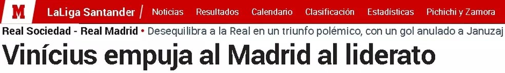 """Diário """"Marca"""": Vinicius empurra o Madrid à liderança — Foto: Reprodução/Marca"""