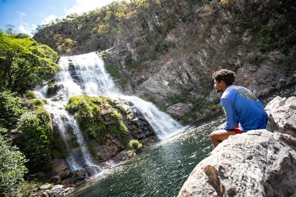 Cachoeira Candaru tem uma queda de 80 metros e limite de 400 visitantes por dia — Foto: Fábio Tito/G1