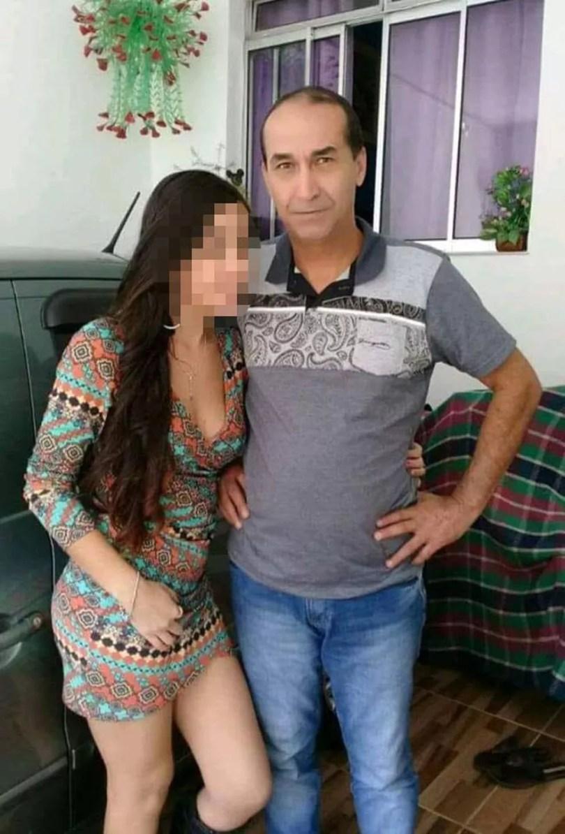 Jovem e o pai, que matou o ex-genro em Praia Grande, SP — Foto: Reprodução/Facebook
