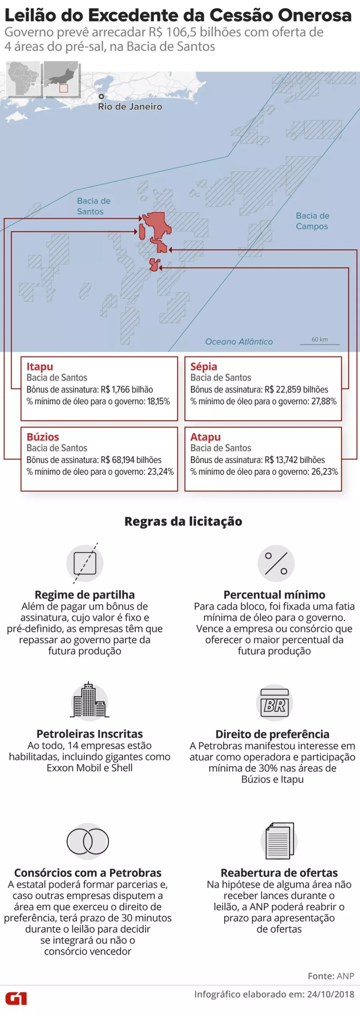Megaleilão da cessão onerosa — Foto: Infografia G1