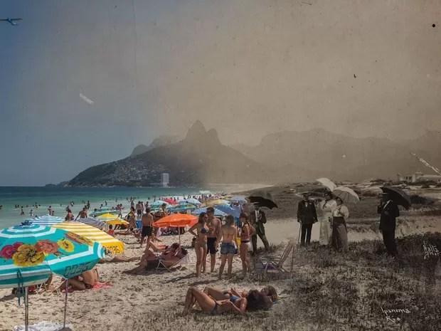 Traje de banhistas contrastam na Praia de Ipanema (Foto: Augusto Malta e Marcello Cavalcanti / Divulgação)