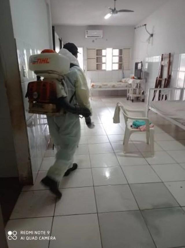 Abrigo Bom Jesus passa por desinfecção após casos de Covid-19 serem confirmados — Foto: Prefeitura de Cuiabá
