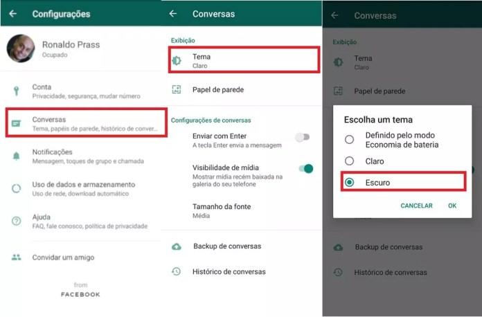 Veja o passo a passo de como alternar os modos do WhatsApp (apenas para usuários em teste) — Foto: Reprodução/G1