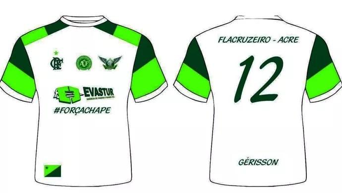 Torcida FlaCruzeiro cria camisa para homenagear Chapecoense (Foto: Divulgação/FlaCruzeiro-Acre)