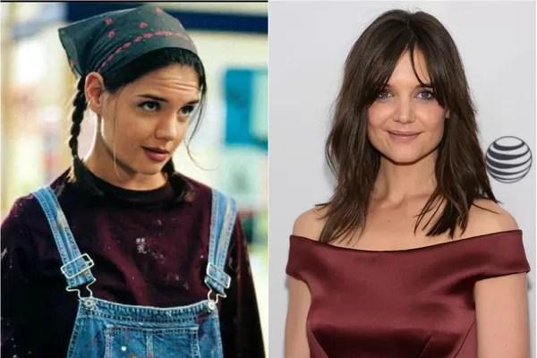 Um dos primeiros trabalhos de Katie Holmes foi na série 'Dawson's Creek', em 1998. A mãe de Suri e ex-mulher de Tom Cruise fazia o papel de Joey Potter (Foto: Getty Images e Reprodução)