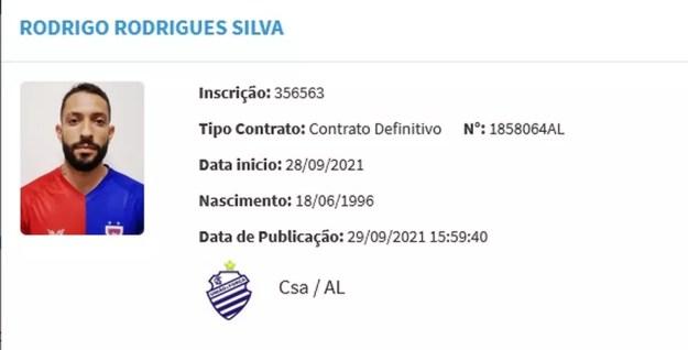 Rodrigo Rodrigues tem nome publicado no BID — Foto: Reprodução/CBF