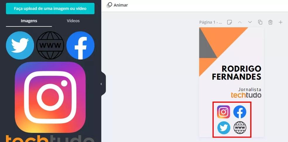Adicione ícones das redes sociais ao cartão de visitas — Foto: Reprodução/Rodrigo Fernandes