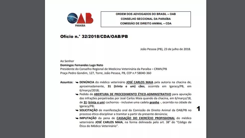 Denúncia feita pela OAB-PB foi encaminhada ao Conselho Regional de Medicina Veterinária da Paraíba (Foto: Reprodução)