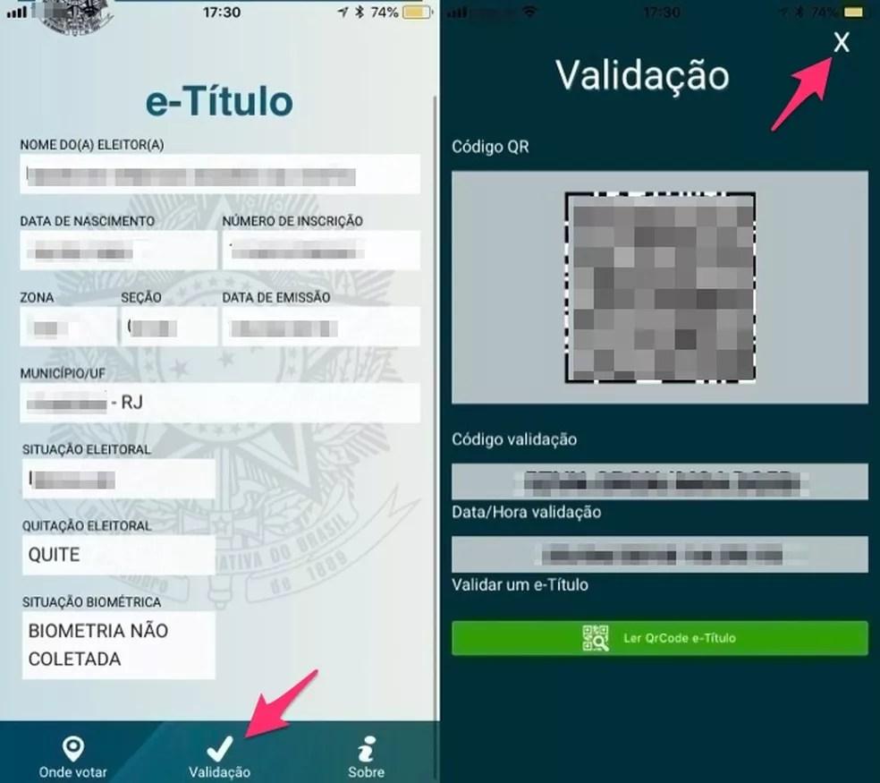 Ação para verificar a validação digital de seu título de eleitor no app E-Título (Foto: Reprodução/Marvin Costa)