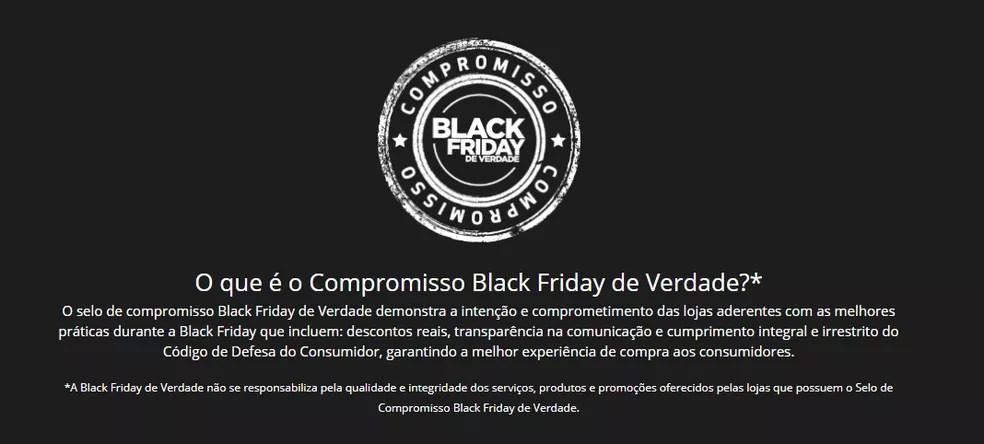 Selo de Compromisso Black Friday de Verdade assegura que loja oferece descontos reais — Foto: Reprodução/Black Friday de Verdade