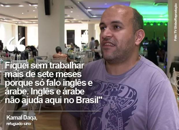 Kamal Daqa, refugiado sírio (Foto: TV Globo/Reprodução)