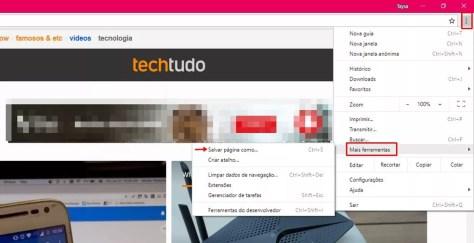 Chrome permite salvar sites como atalho (Foto: Reprodução/ Taysa Coelho)