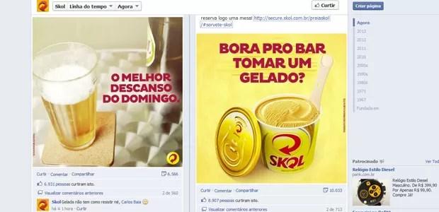 Post na página da Skol no Facebook divulga o sorvete de cerveja (Foto: Reprodução)