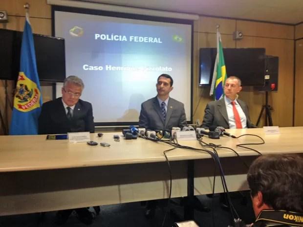 Polícia Federal concede coletiva para explicar detalhes sobre a fuga de Henrique Pizzolato do Brasil e sua posterior prisão na Itália (Foto: Nathalia Passarinho / G1)