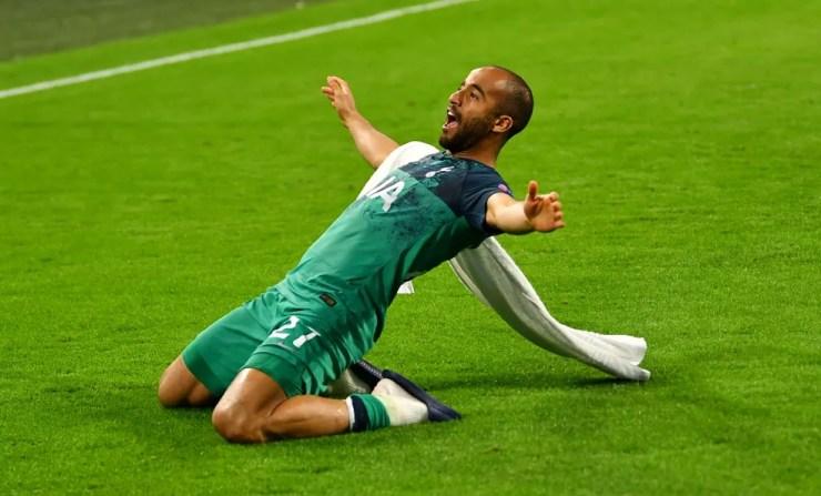 Lucas Moura foi o grande personagem do Tottenham na Liga dos Campeões — Foto: Dylan Martinez/Reuters