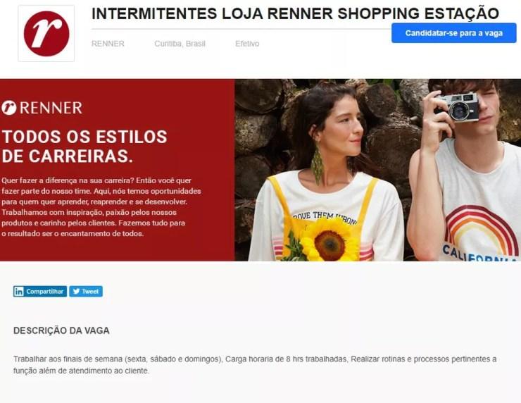 Anúncio de vaga para intermitentes da Loja Renner, pelo sistema de seleção Gupy — Foto: Reprodução