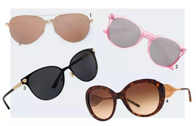 (1) Victoria Beckham; (2) Helena Bordon para a Bob Store; (3) Versace; e (4) Burberry (Foto: Arte Vogue Online)