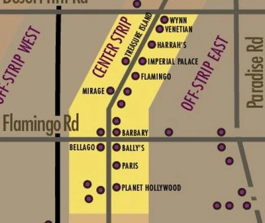 Map Las Vegas Hotels – The Strip Central