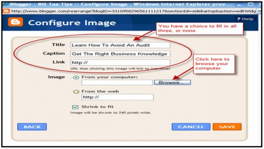 Configure the Image - add title and/or caption.