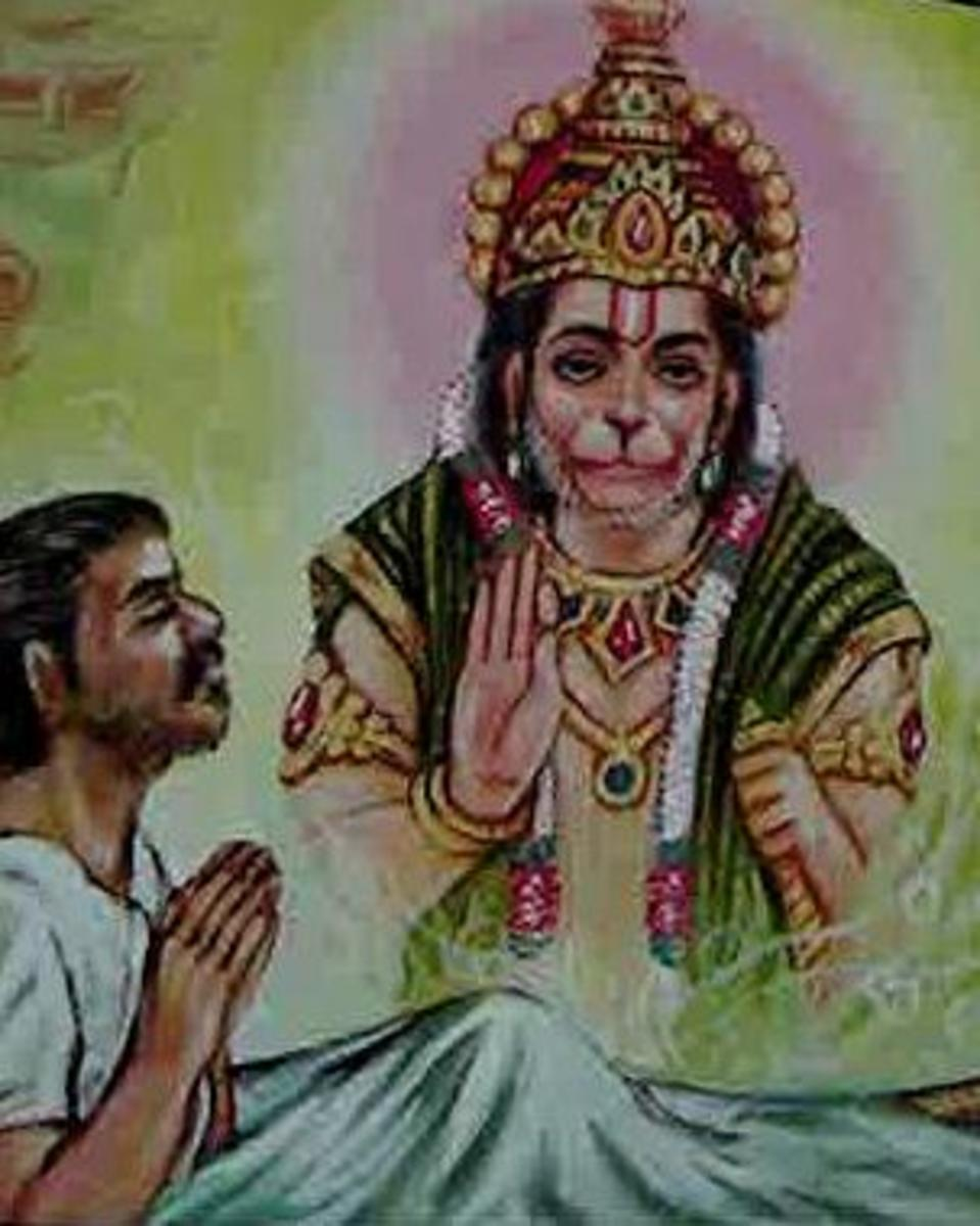 Picture depicting verse 27 of the Hanuman Chalisa