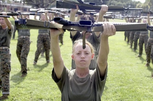 Female Marine in bootcamp