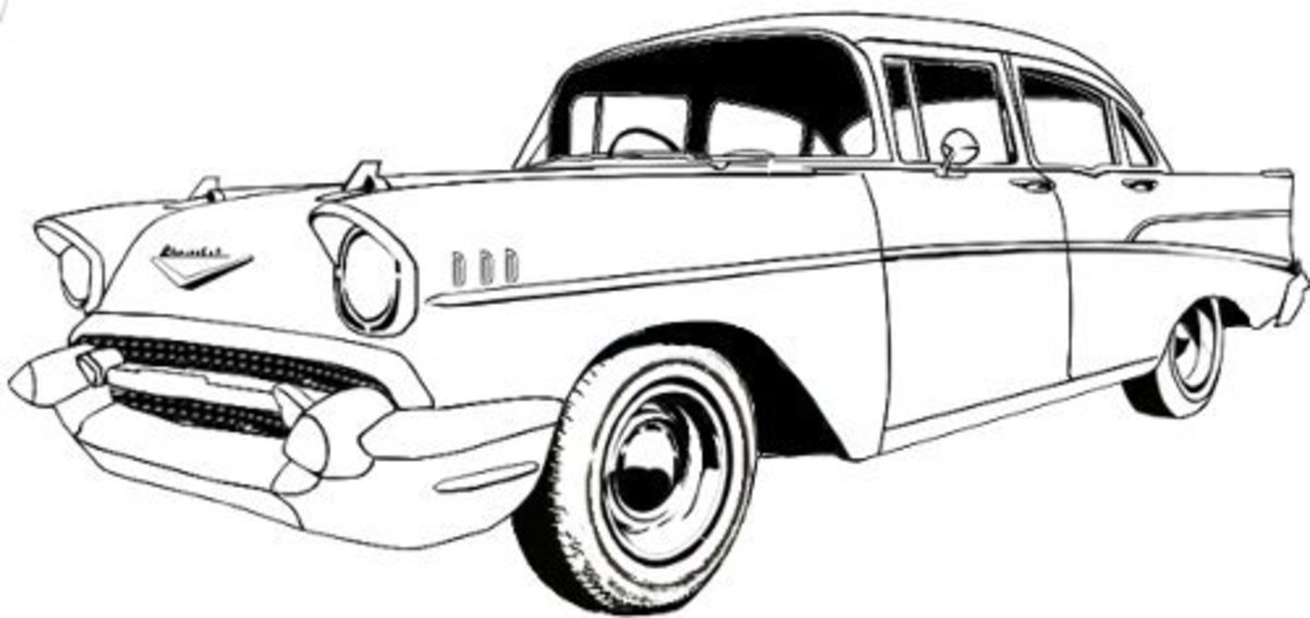 1958 Chevy Bel Air Sedan, digital line drawing