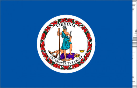 "A deep blue field contains the seal of Virginia with the Latin motto "" Sic Semper Tyrannis"" - ""Thus Always to Tyrants"". Adopted in 1776. The two figures are acting out the meaning of the motto. Both are dressed as warriors. The woman, Virtue, represe"