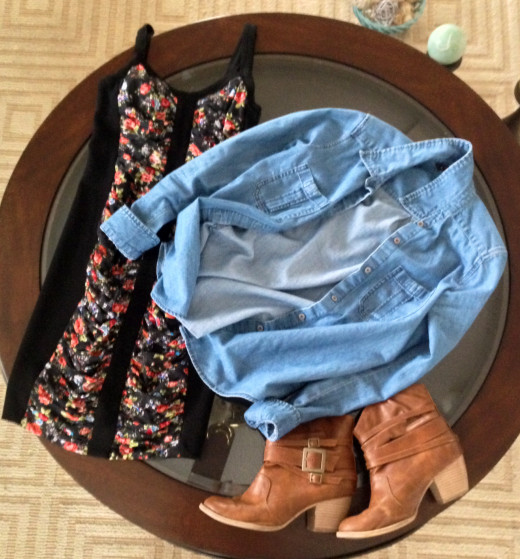 Downsizing the flowers makes the floral print a little less dainty. Throw on a denim button-down and some brown ankle booties with a bit of a heel, and flowers instantly become edgy!