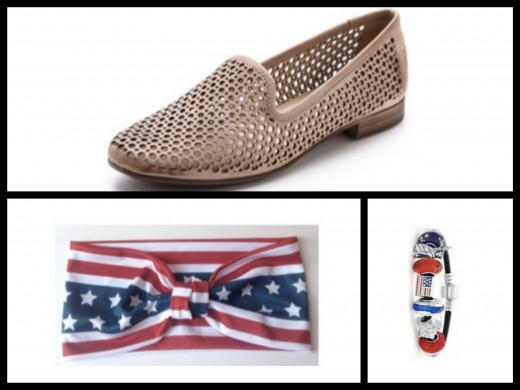 A closer look at the beige perforated leather flats and USA game day accessories! Media provided by ShopBop and Polyvore.
