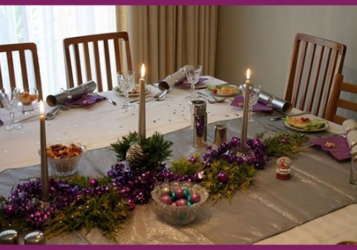 Christmas Wine Table Setting With Purple And Silver Theme Focus On The