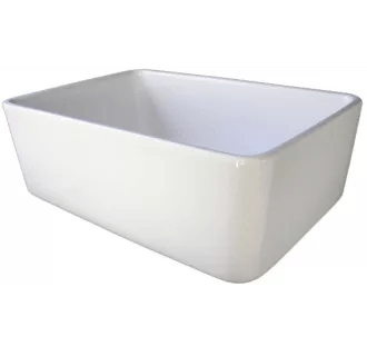 ALFI Brand AB503 W White 24 Inch Smooth Small Fireclay Farmhouse Kitchen Sink