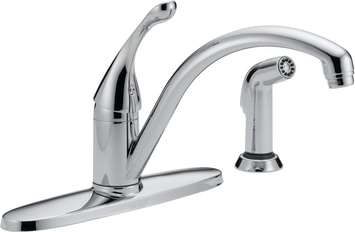 water efficient kitchen faucet outdoor cabinet delta 440 we dst chrome collins with side