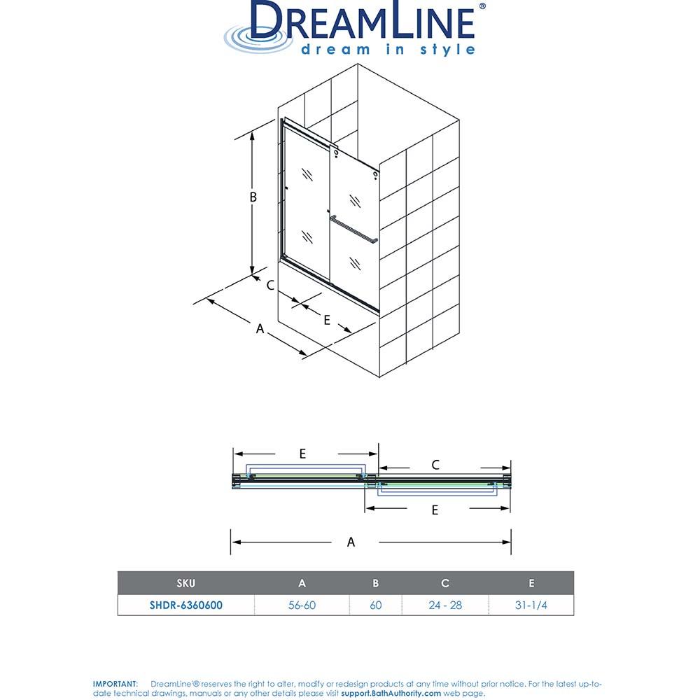 DreamLine SHDR-636060H-04 Brushed Nickel Essence-H 56-60