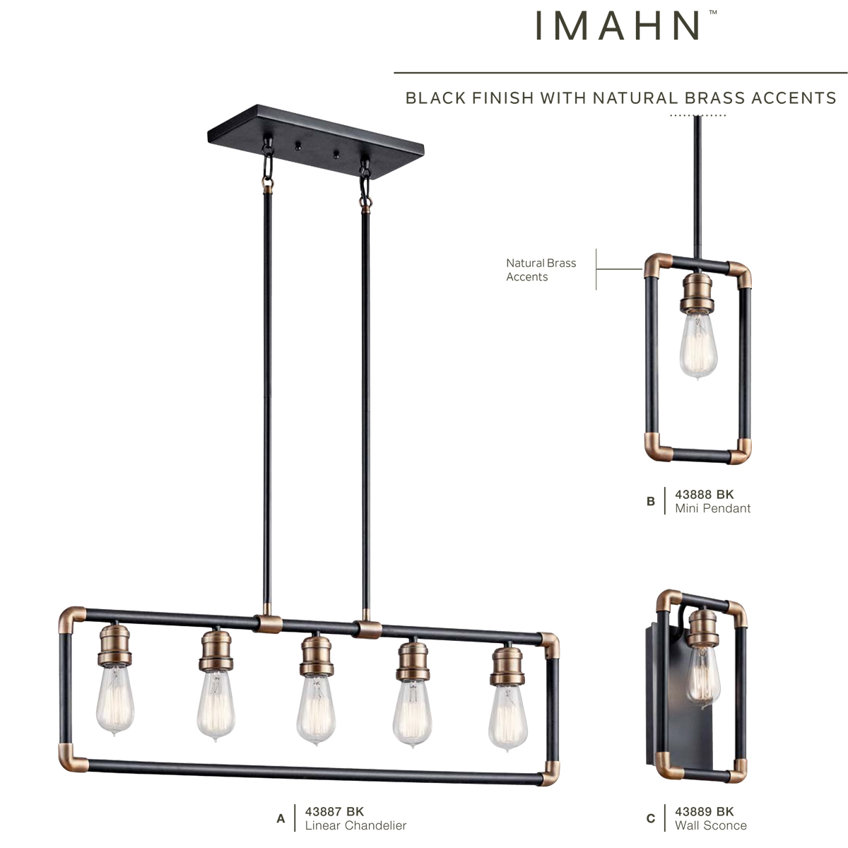 Kichler Bk Black Imahn 35 Wide 5 Light Linear Chandelier