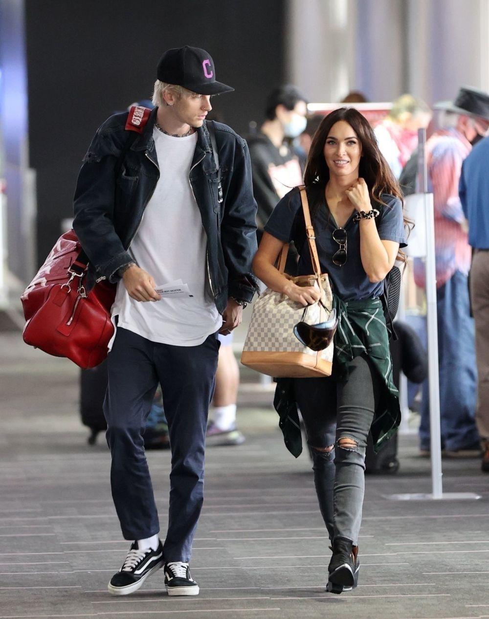 Machine Gun Kelly and Megan Fox at the airport