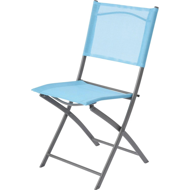 Chaise de jardin en acier Denver bleu  Leroy Merlin